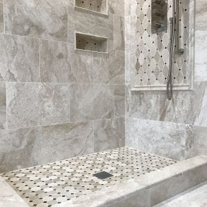 new shower with natural stone tile Schaumburg IL