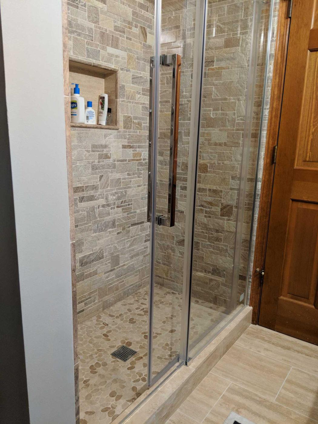 Bathroom Remodeling Hoffman Estates - natural stone shower tile