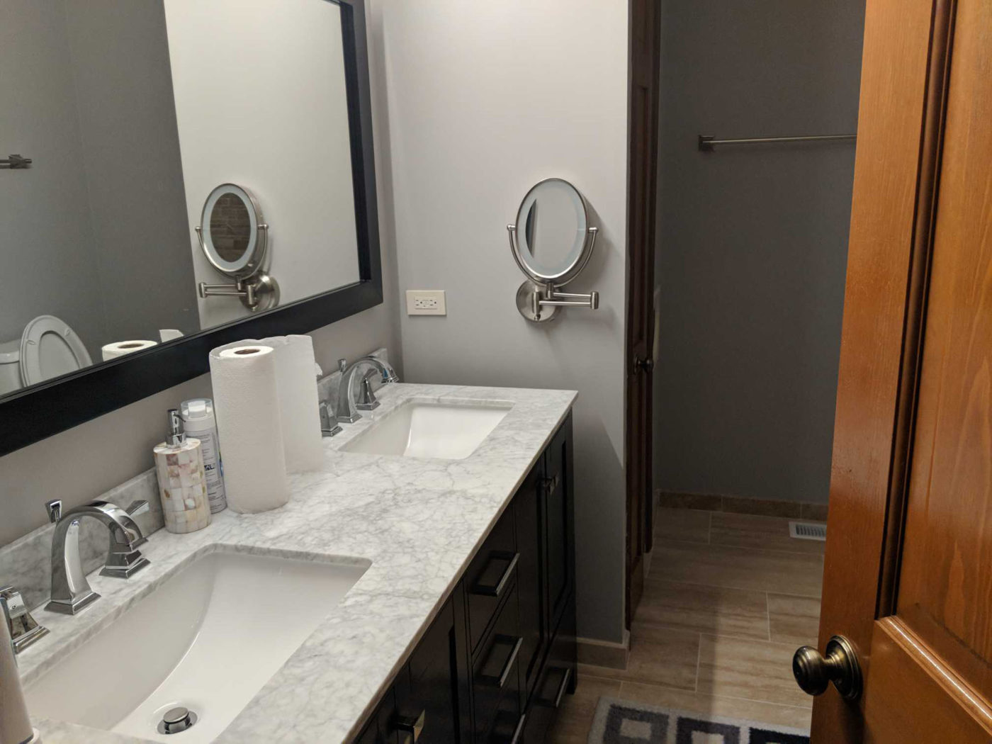 Bathroom Remodeling Hoffman Estates - granite countertops, wood flooring