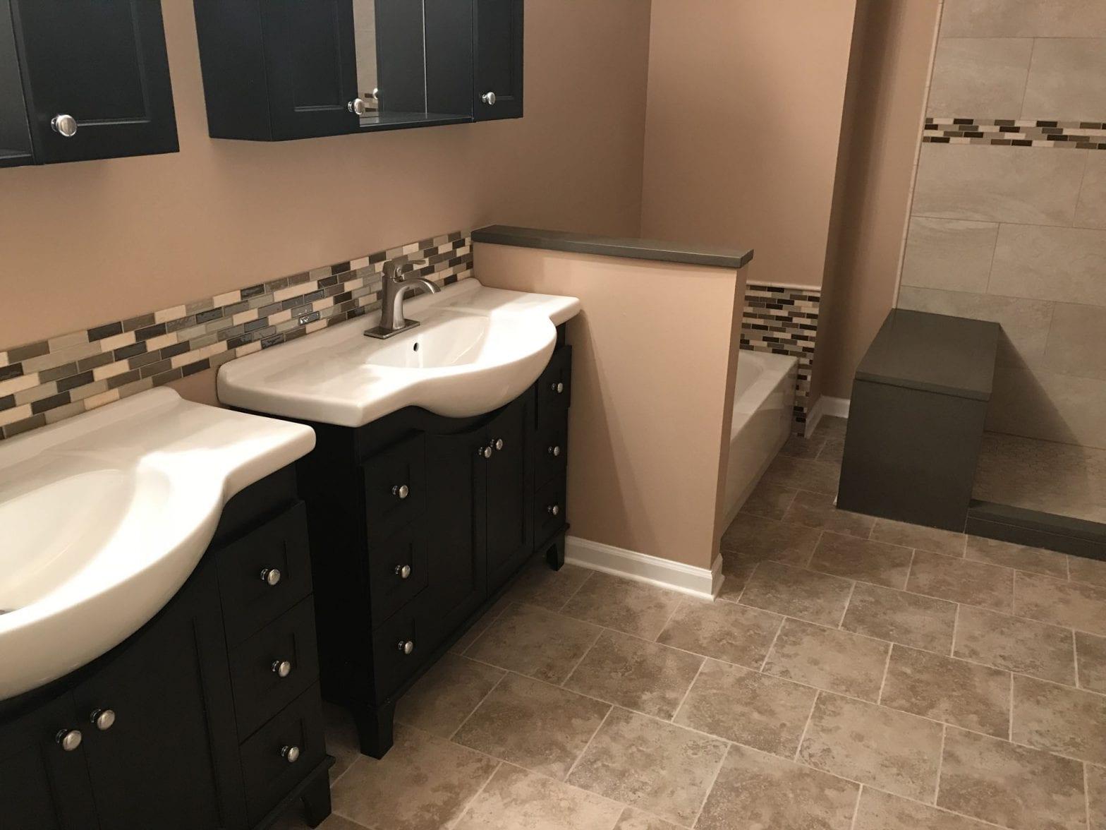 Bathroom Remodeling In Hanover Park - natural stone tile and backsplash