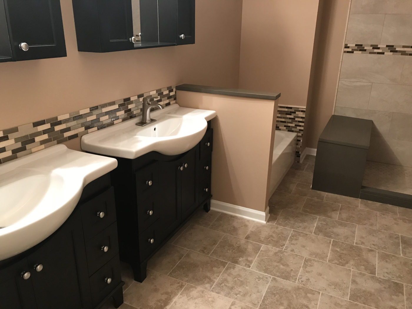 Bathroom Remodeling In Hanover Park - natural stone tile and backsplash