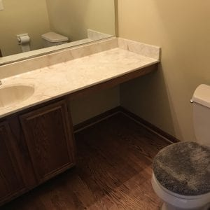 Hoffman Estates Powder Room remodeling - hardwood flooring