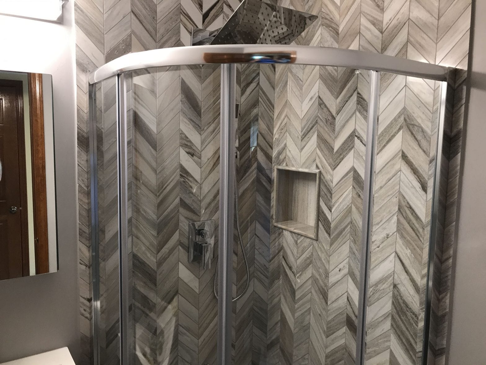 Hoffman Estates Powder Room new paneling and shower