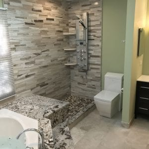Master Bathroom Remodeling In Hoffman Estates - modern shower, natural stone countertops