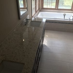 master bathroom remodeling in Schaumburg - new countertops, flooring, and tub