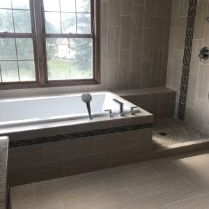 Master Bathroom Remodeling Schaumburg - new shower and tub