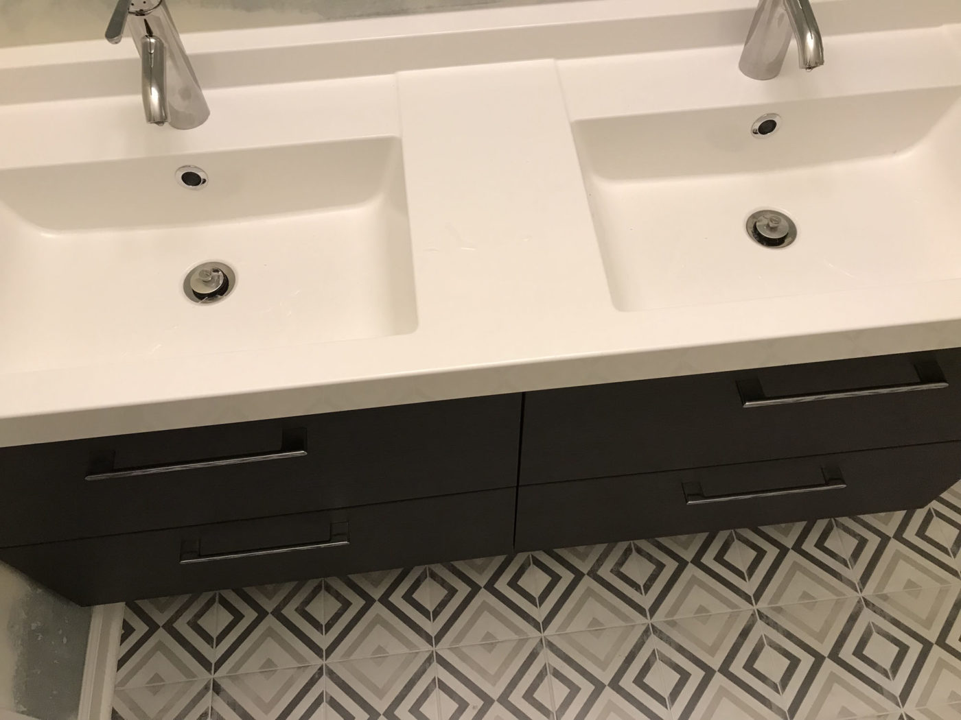 Commercial Property Bathroom remodeling in Streamwood IL - new sink, tile, flooring, cabinets