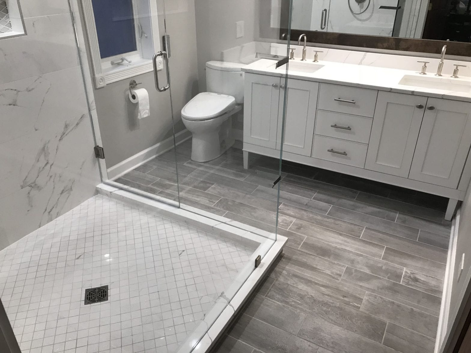 Master Bathroom Remodeling in Morton Grove - new shower, flooring, cabinets, countertops