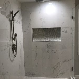 Master Bathroom Remodeling in Morton Grove - new shower, granite tiling