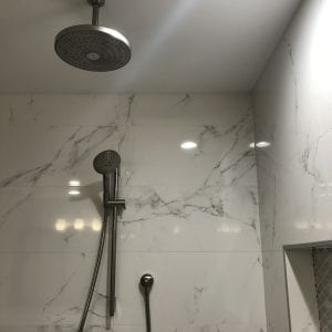 Master Bathroom Remodeling in Morton Grove - new shower, granite tile