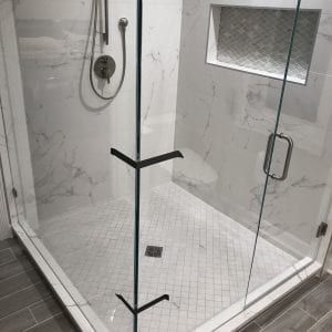 Master Bathroom Remodeling in Morton Grove - new shower, granite tile, flooring