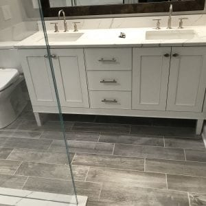 Master Bathroom Remodeling in Morton Grove - new cabinets, countertops, flooring