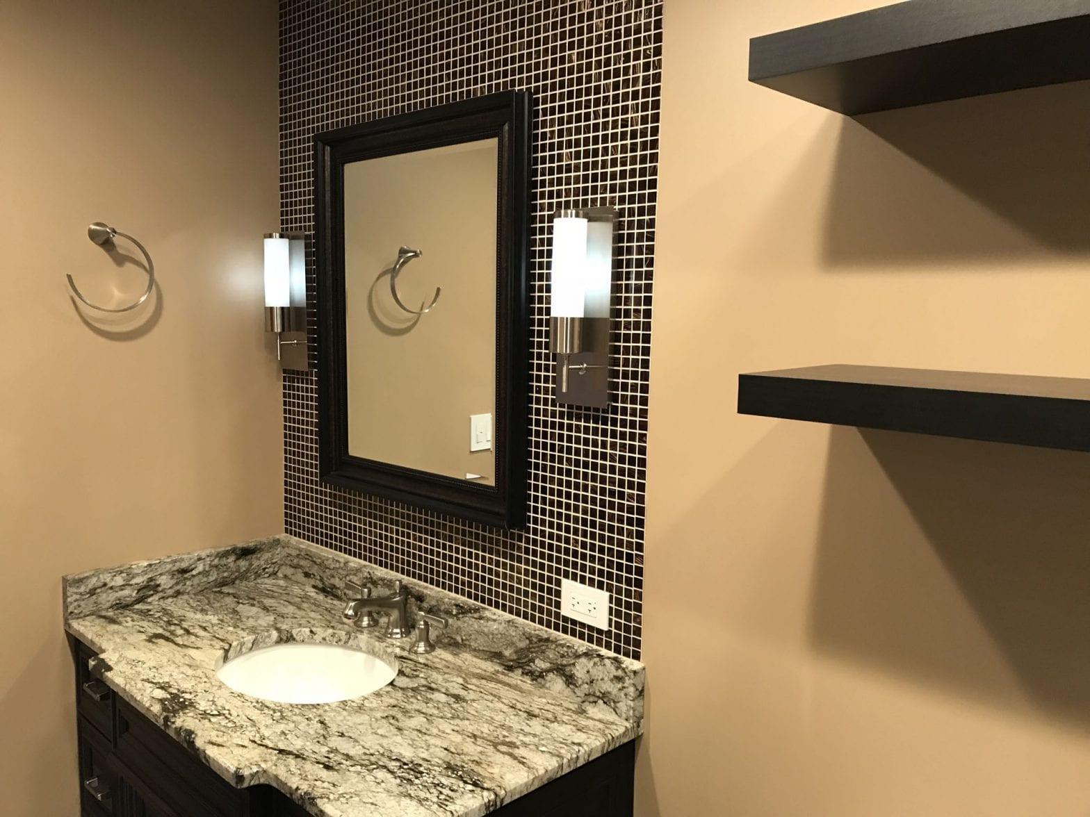 Bathroom Remodeling in South Barrington - tan and dark brown, granite countertop, new shelving