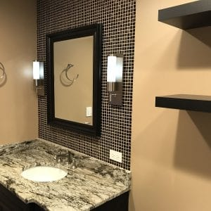 Bathroom Remodeling in South Barrington - tan and dark brown, granite countertop, new shelving