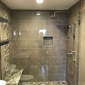 Bathroom Remodeling in South Barrington - natural stone tile, aggregate tile