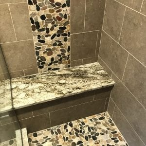 Bathroom Remodeling in South Barrington - new tile, natural stone aggregate