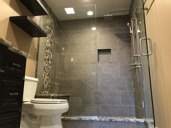 Bathroom Remodeling near Lake Zurich - new tile, cabinets, shower