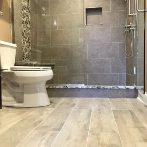 Bathroom Remodeling in South Barrington - new flooring, natural stone tile, shower