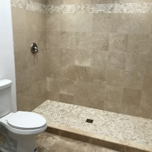 Bathroom remodeling in East Dundee - new shower natural stone