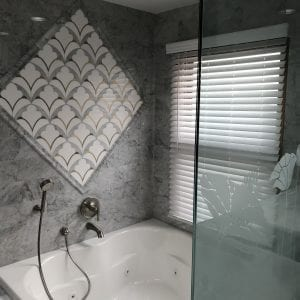 Master bathroom remodeling in Hoffman Estates - new tub, tile, elegant style