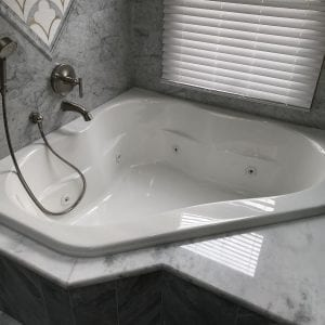 Master bathroom remodeling in Hoffman Estates - jacuzzi tub, granite tile