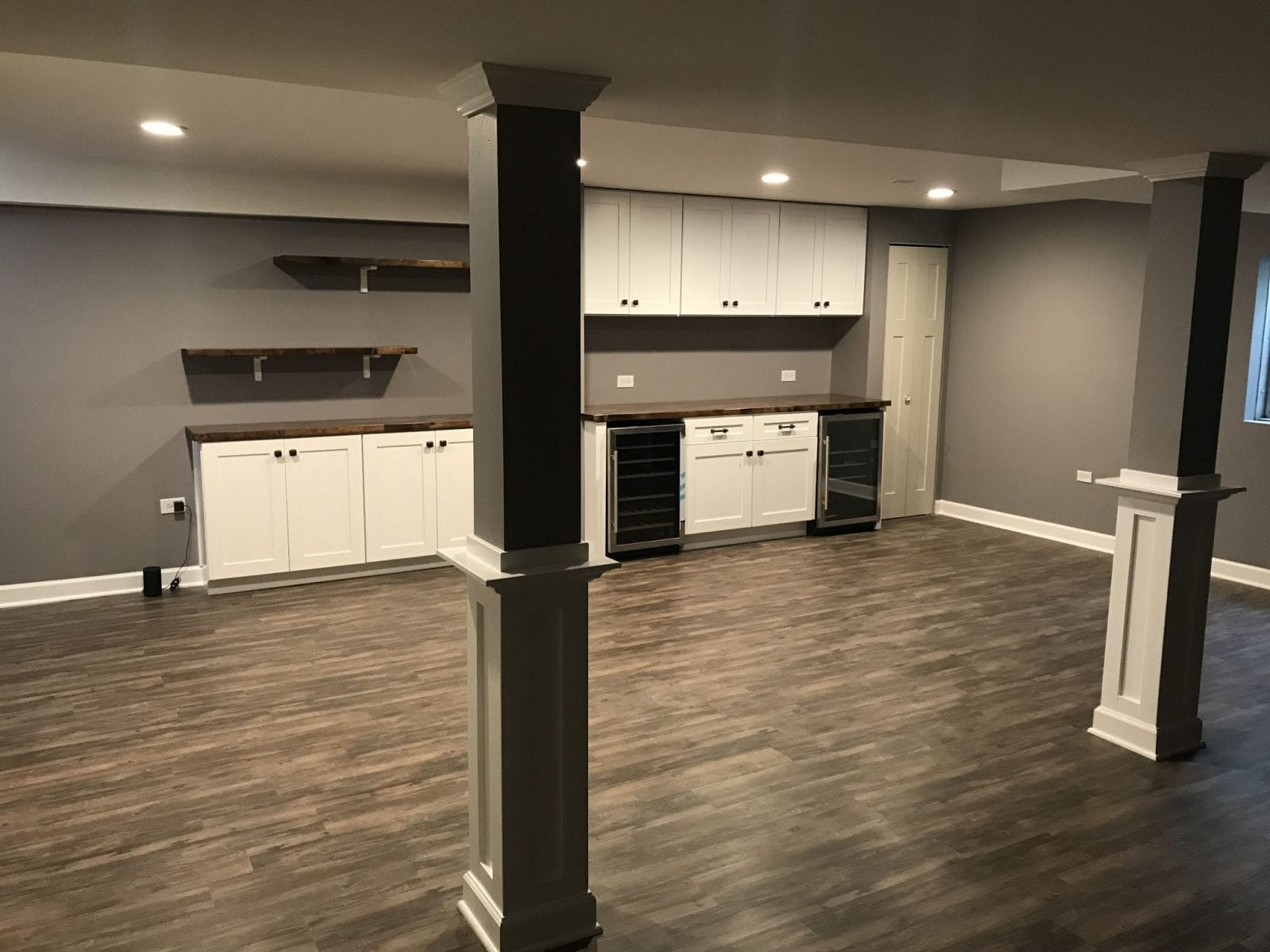 Basement remodeling in Streamwood - new flooring, cabinets, fixtures