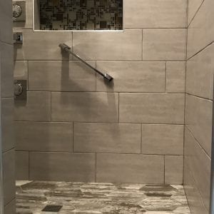 Bathroom remodeling in Bartlett IL - walk in shower, new tile, new flooring