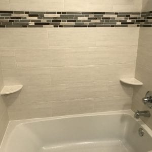 Bathroom remodeling in Hanover Park- new tub and wall tiles