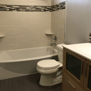 Bathroom remodeling in Hanover Park - new tub, shower, tiles, flooring, cabinets
