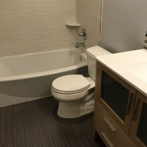 Bathroom remodeling in Hanover Park - new flooring, cabinets, tub, tiles