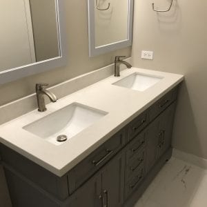 Bathroom remodeling in Streamwood IL - new cabinets, sinks, mirrors