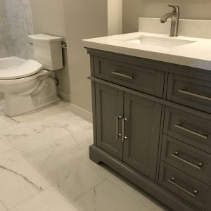 Bathroom remodeling in Streamwood IL - new cabinets, sink, flooring