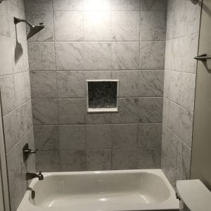 Bathroom remodeling in Streamwood IL - new shower, tile, natural stone