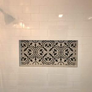 new antique style shower head and tile