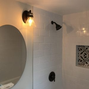 new Victorian style shower, lighting, bathroom mirror, bathroom tile