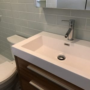 new sink, batroom tile, cabinets