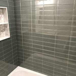 new bathroom tile and shelving