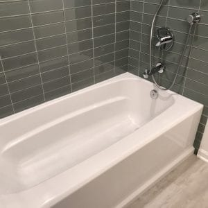 new tub, bathroom tile, flooring