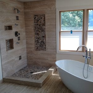 New minmalistic bathroom remodeling, wood flooring, tile aggregate