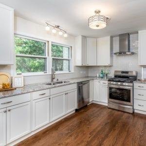 Kitchen Renovation and Remodeling in Schaumburg and Chicago; kitchen hardwood flooring, new cabinets, granite countertops