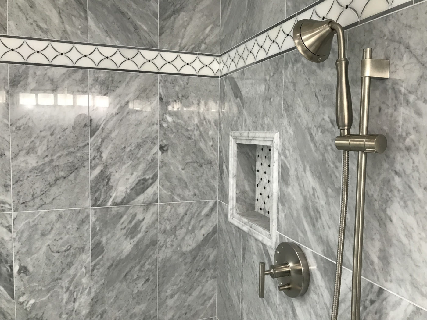 Bathroom Renovation Services in Schaumburg IL, new shower and natural stone tile