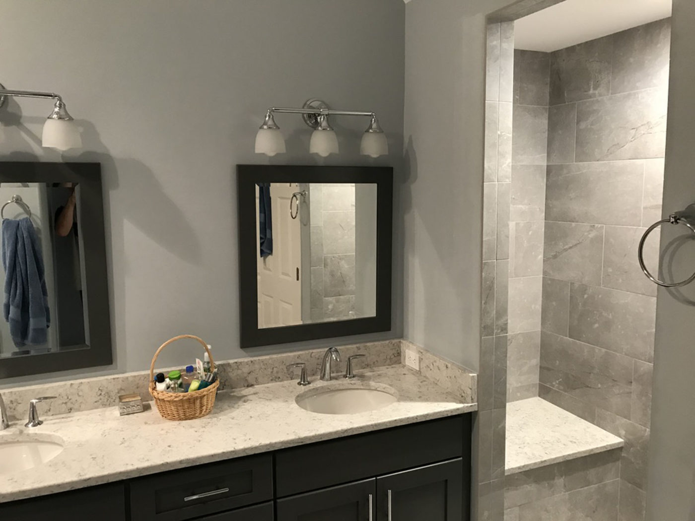 Bathroom Remodeling Services in Schaumburg, near Chicago, shower installation, natural stone tile contractor, new counters