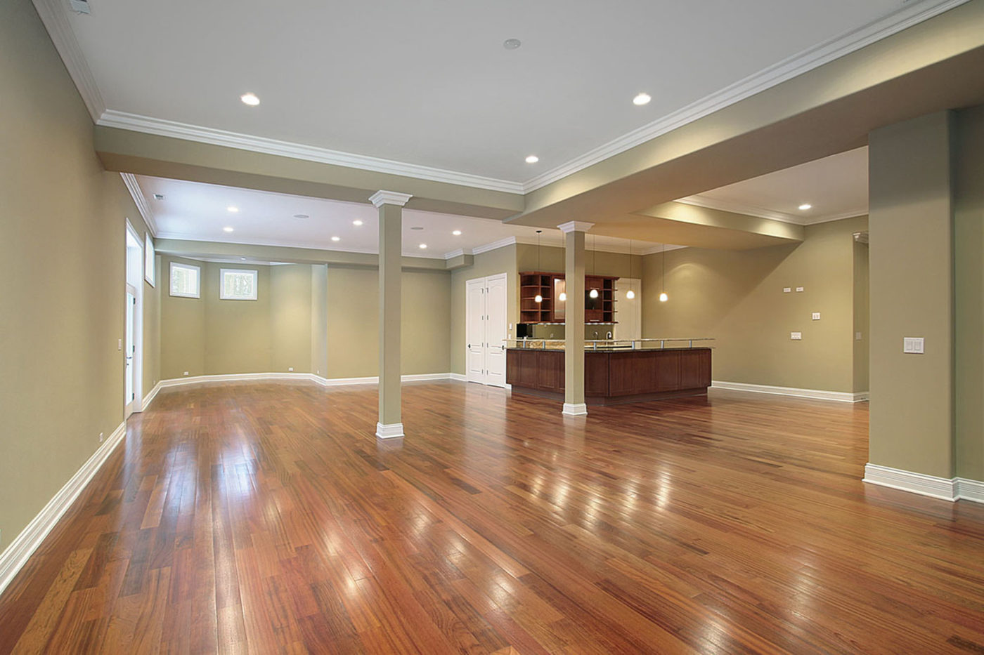 Basement With Kitchen In New Construction Home - hardwood floor