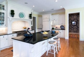 Kitchen Remodeling in Rolling Meadows - White and black colors with hardwood flooring