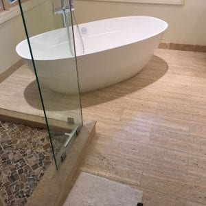 Bathroom remodeling near chicago - wood flooring, new tub, aggregate tile