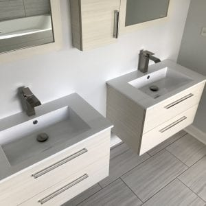 Bathroom Remodeling in Carpentersville - modern sinks recessed mirrors, new flooring
