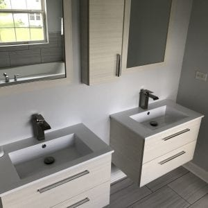 Bathroom Remodeling in Carpentersville - modern sinks, cabinets, new flooring