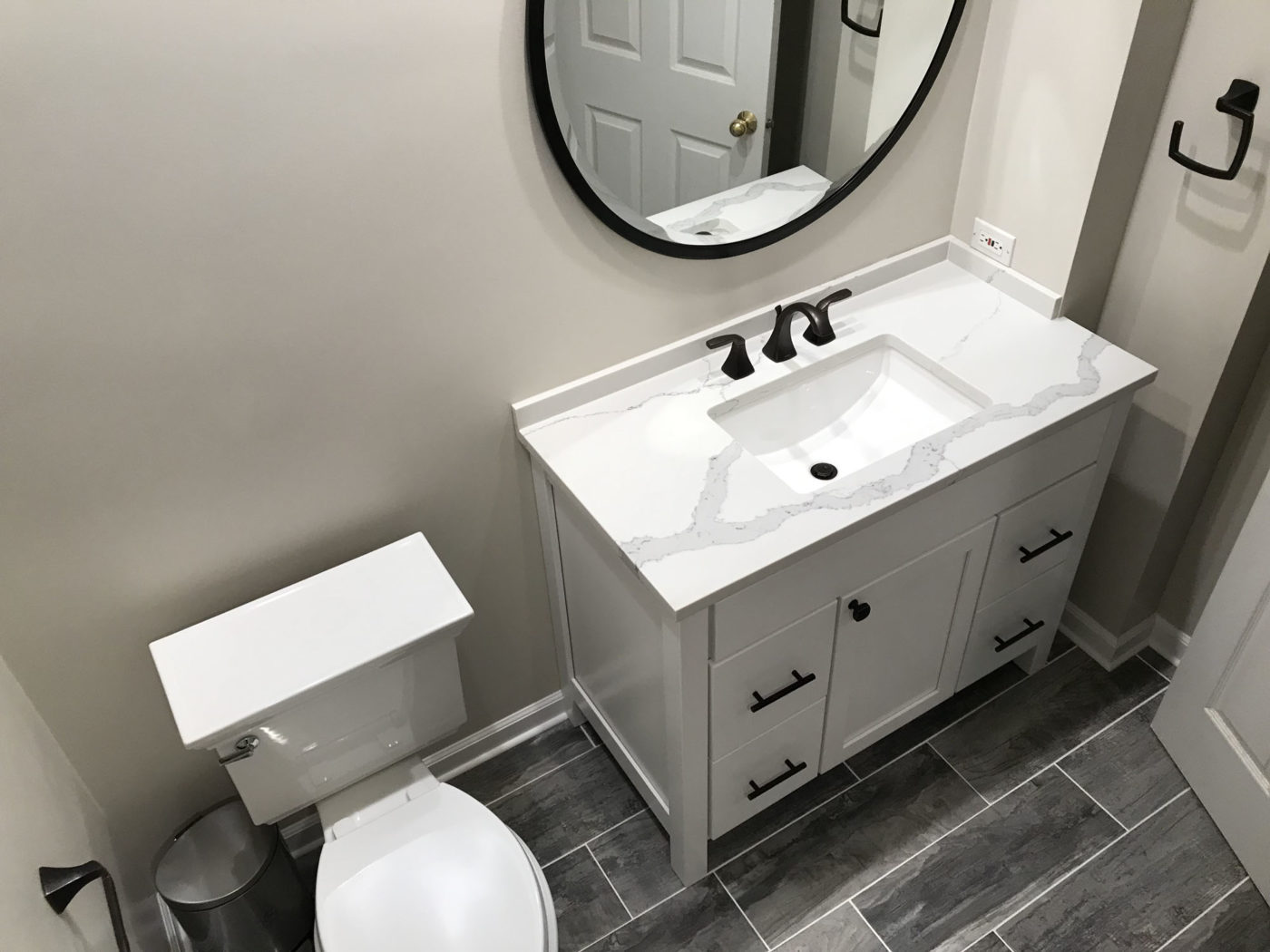 Bathroom Remodeling in Hinsdale - new flooring, sink, cabinets