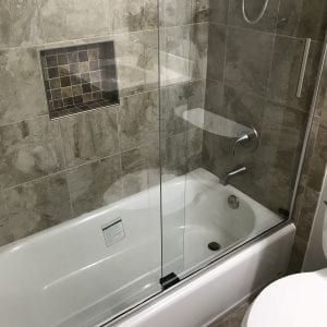 Bathroom Remodeling in Mundelein - new shower and natural stone tile