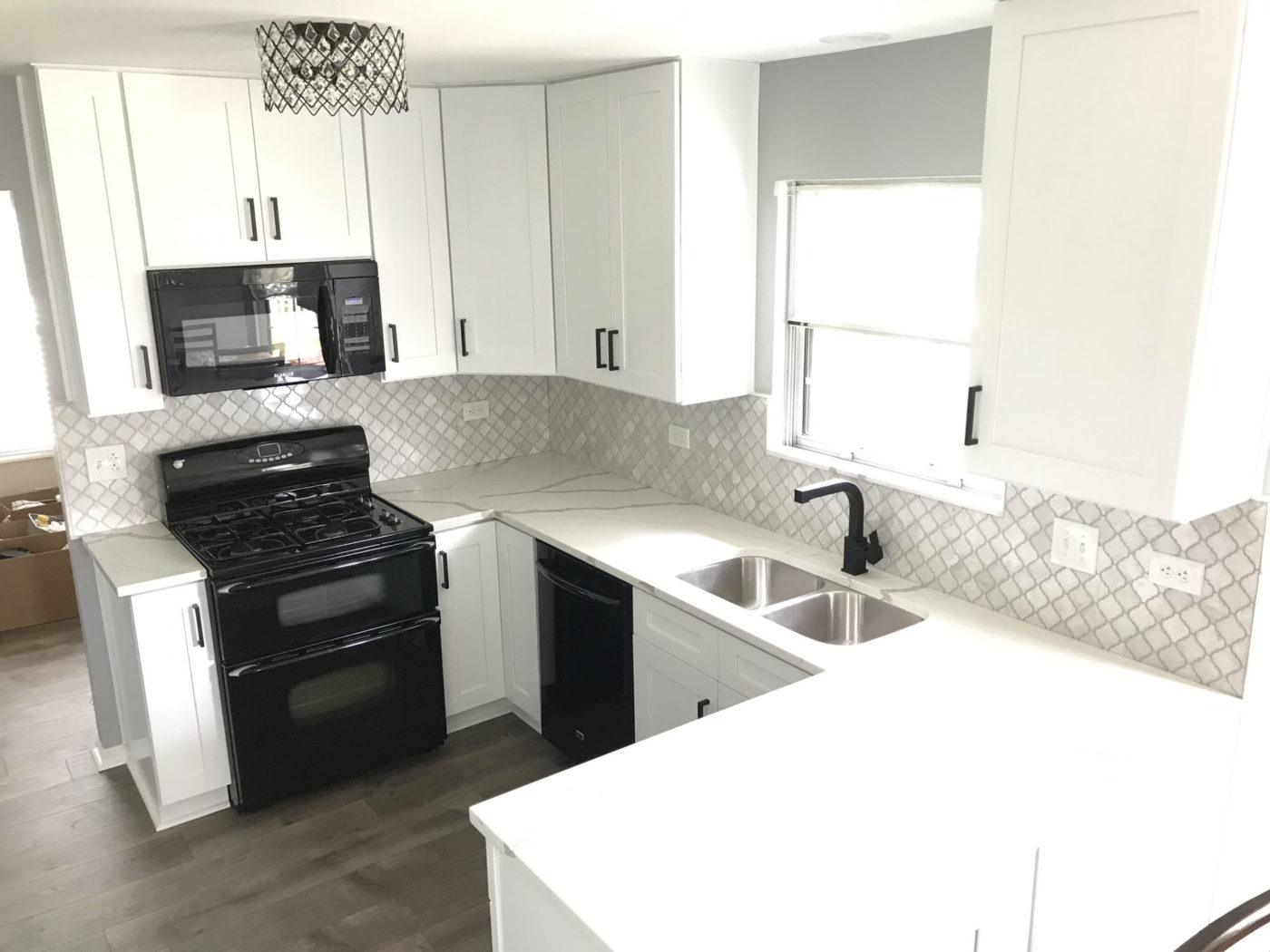 Kitchen Remodeling in Streamwood - white and black color scheme